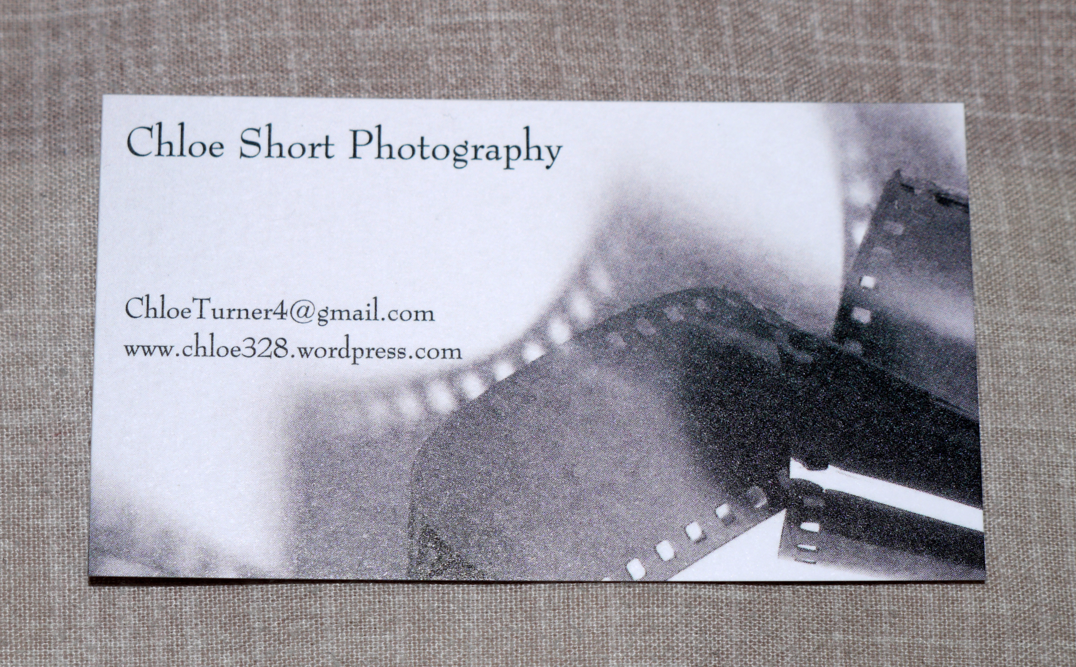 My business card chloe shorts photography blog i chose to print new business cards off for the exhibition so that i could put my professional email address off and put a simple picture on them colourmoves